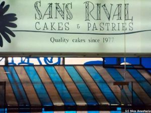 Sans Rival Cakes and Pastries Restaurant signage.