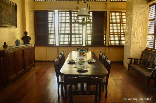 a replica of the dining area of the Rizal Family