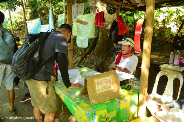 the registration booth at the jump-off area (DENR-manned)