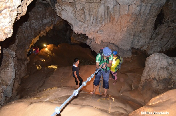 one of the many rappelling activities inside the cave