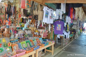 Numerous and colorful merchandises within the wharf