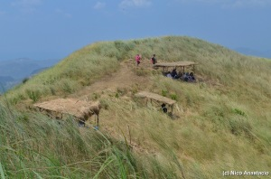a line of nipa huts in the grasslands on top