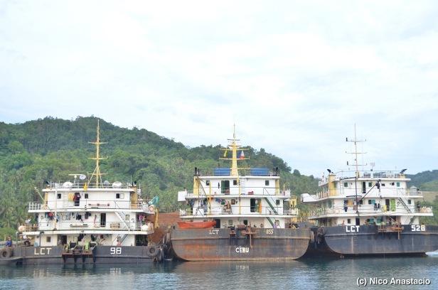 Large mining barges