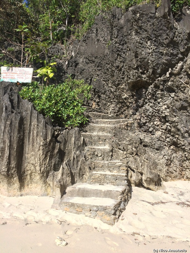 Stairs going to and from the white beach of Aga Islet